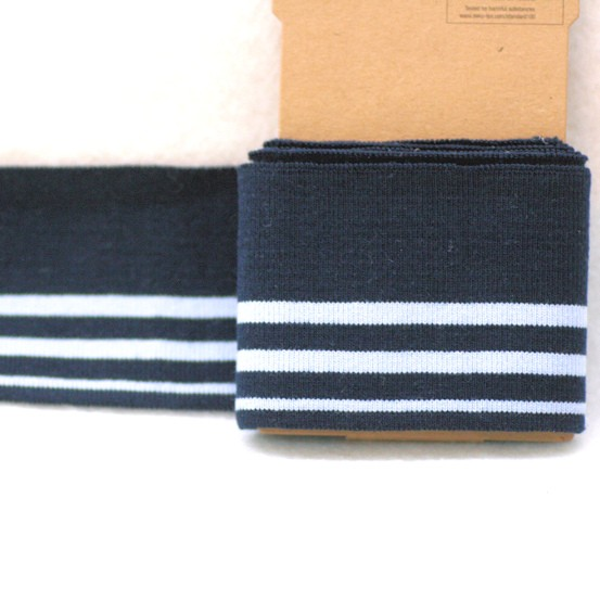 Boord Cuff Bündchen, 1,1m, marineblau-hellblau, Streifen